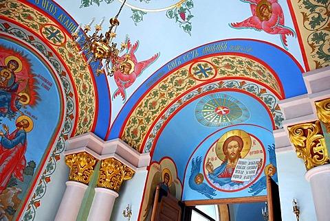 Colourful murals in the interior of the entrance area, Russian Orthodox Cathedral, Kristus Piedzimsanas pareizticigo Katedrale, Orthodox Church of Christ's Birth, Riga, Latvia, Baltic states, Northeastern Europe