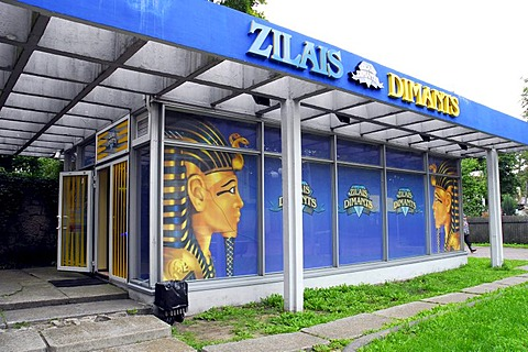 Blue marquee and glass facade with Egyptian figures, Zilais Dimants Casino in the pedestrian zone of Jomas iela street in Majori, Baltic Sea resort Jurmala, Latvia, Baltic states, northeastern Europe