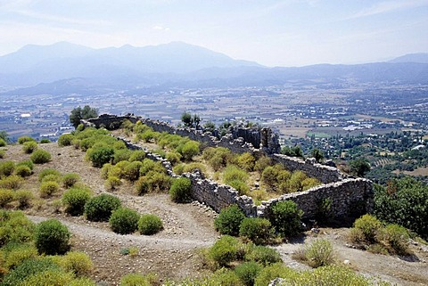 Ancient town ruins on a mountainside, Tlos, Fethiye, Mugla Province, Turkey