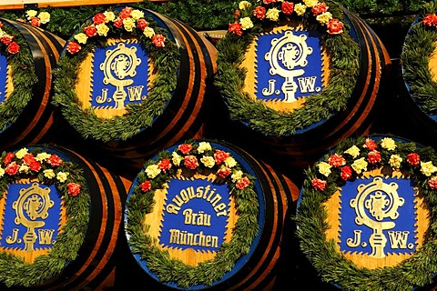 Beer kegs on the beer wagon from Augustiner Brewery, Wies'n, Oktoberfest, Munich, Bavaria, Germany, Europe - 832-261426