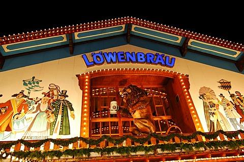 Loewenbrau beer tent, Wies'n, Oktoberfest, Munich, Bavaria, Germany, Europe