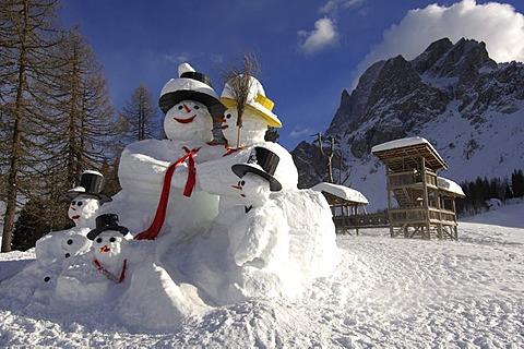 Snowman family on the Rotwand or Pietrarossa Mountain, High Puster Valley or Alto Pusteria, Bolzano-Bozen, Dolomite Alps, Italy, Europe
