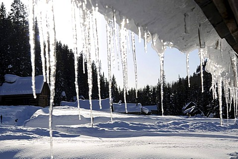 Curtain of icicles on Dunton Hot Springs Lodge in Colorado, USA
