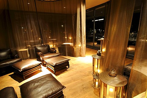 Wellness lounge in the spa area of Gstaad Palace Hotel, Gstaad, Western Alps, Bernese Oberland, Switzerland, Europe