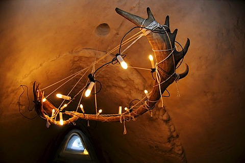 Caribou-antlers as lamp in igloo-hotel, Snow Hotel, Kirkenes, Finnmark, Lapland, Norway, Scandinavia, Europe