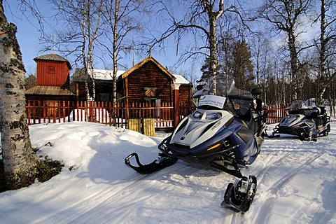 Pielpajaervi, wooden wilderness church, forefront snowmobiles, Inari, Lapland, Finland, Europe