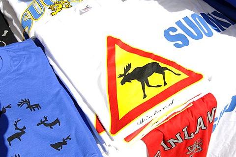 Souvenirs, elk shirt at a market, Esplanade, Helsinki, Finland, Europe