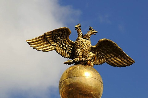 Golden, double-headed Russian eagle on the granite obelisk to commemorate Tsar Nicholas I and his consort Alexandra Feodorovna, market place, Helsinki, Finland, Europe