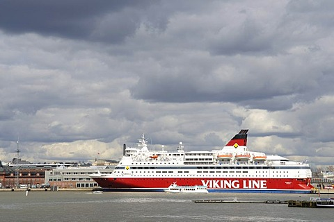 Ferry-boat of the Viking Line docked in Helsinki port, Helsinki, Finland, Europe