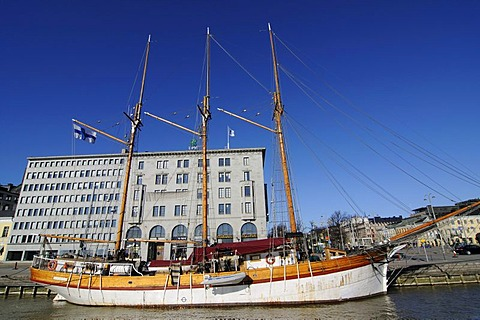 Sailing ship in the port of Helsinki, Finland, Europe