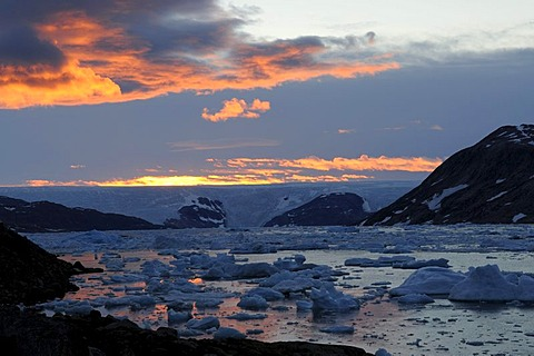 Ice sheet, Brueckner Glacier and icebergs in the Johan Petersen Fjord, East Greenland, Greenland