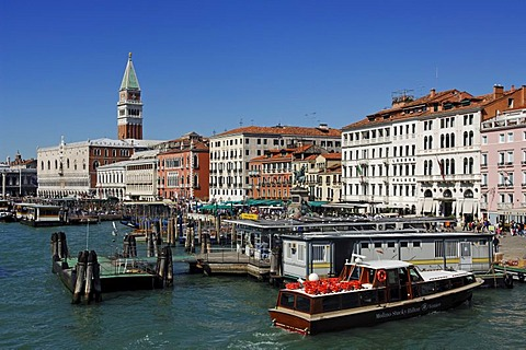 Ferries at St. Mark's Square, Venice, Veneto, Italy, Europe