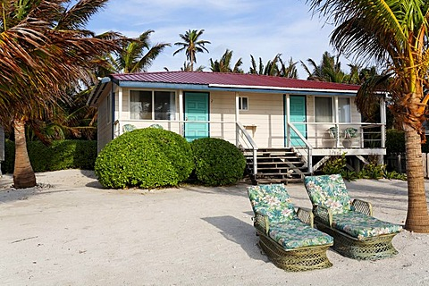 Bungalows, Turneffe Flats, Turneffe Atoll, Belize, Central America, Caribbean