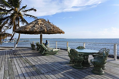 Free seats, view of the sea, Turneffe Flats, Turneffe Atoll, Belize, Central America, Caribbean