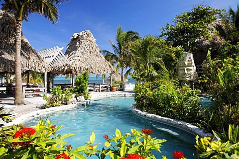 Hotel swimming pool with views onto the ocean, San Pedro, Ambergris Cay Island, Belize, Central America, Caribbean