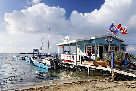 Restaurant on a pier in the ocean of San Pedro, Ambergris Cay Island, Belize, Central America, Caribbean