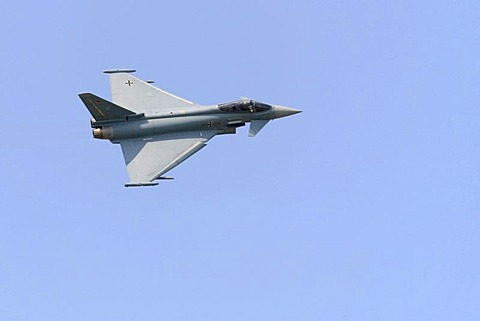 Typhoon eurofighter, German Airforce multi-purpose fighter plane in flight, airshow, ILA 2008, International Air Display, Berlin, Germany, Europe - 832-263495