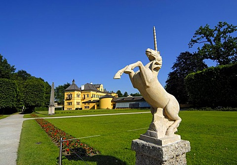 Unicorn statue in the Pleasure Garden of the Hellbrunn Palace in Salzburg, Austria, Europe