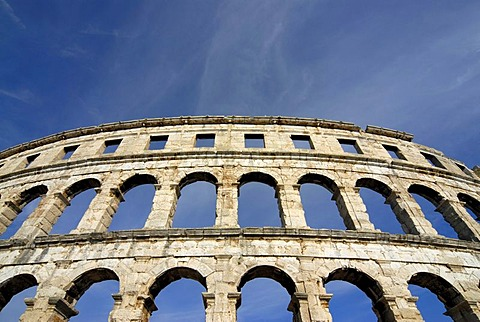 Ancient Roman amphitheater, arena, Pula, Istria, Croatia, Europe