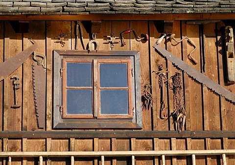 Decoration of wooden house in Hallstatt, Salzkammergut, Upper Austria, Europe
