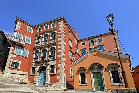 Battiala-Lazzarini Palace Museum in old town, Stari Grad, Labin near Rabac in Istria, Croatia, Europe