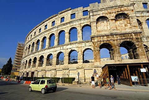 Ancient Roman amphitheater, arena, in Pula, Istria, Croatia, Europe