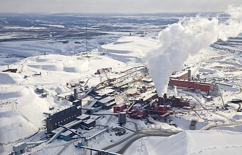 The LKAB iron ore mine on Mount Kirunavaara, the largest and most modern iron ore mine in the world, Kiruna, Lappland, North Sweden, Sweden - 832-264445
