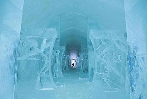 Long corridor in the Icehotel in Jukkasjaervi, Lappland, North Sweden, Sweden - 832-264458