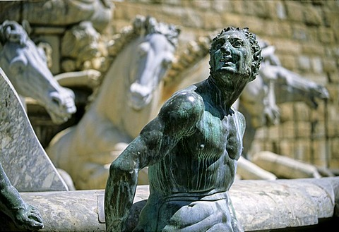 Bronze sculpture of a satyr on the Neptune Fountain, Piazza della Signoria, Florence, Firenze, Tuscany, Italy, Europe