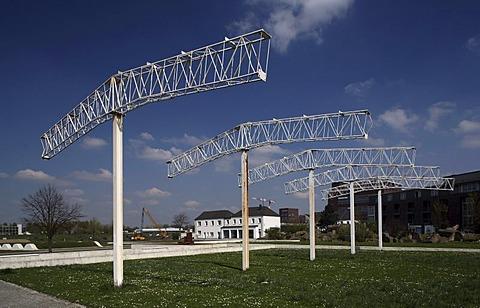 Garten der Erinnerung, park, harbour, Duisburg, Ruhr area, North Rhine-Westphalia, Germany, Europe