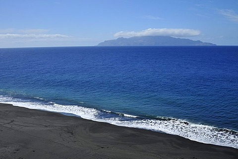 Black beach of Sao Filipe and Brava Island, Fogo, Cape Verde Islands, Africa