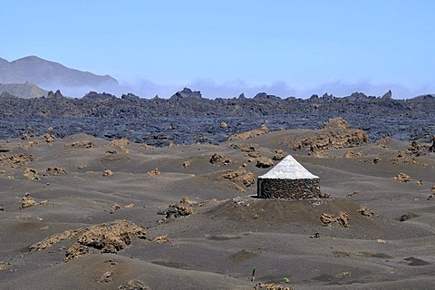 Traditional hut, Cha das Caldeiras, Pico de Fogo Volcano, Fogo Island, Cape Verde Islands, Africa
