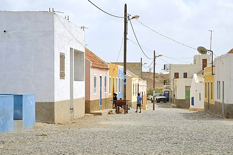 Houses in Povacao Velha, Boa Vista Island, Republic of Cape Verde, Africa