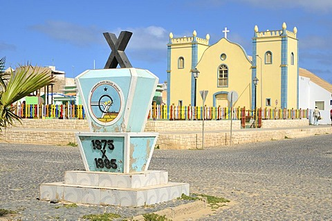 Memorial and Catholic church, Sal Rei, Boa Vista Island, Republic of Cape Verde, Africa