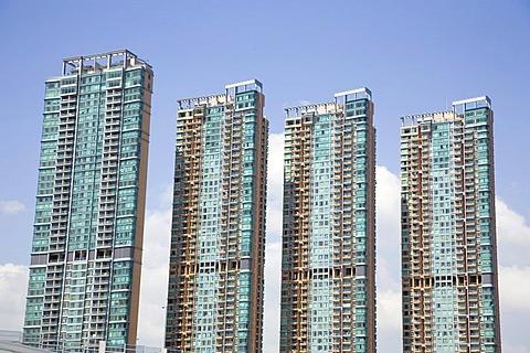 Residential area, multistory buildings, Hongkong, China, Asia