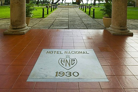 Base plate with year, entrance area, Hotel Nacional, Havana, Cuba, Caribbean, Central America
