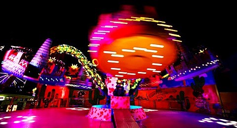 Speed roundabout at night, Vienna Prater Park, Vienna, Austria, Europe