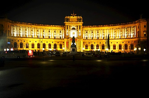 Austrian national library in the Hofburg Imperial Palace at night, Vienna, Austria, Europe