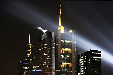 Skyline of Frankfurt at night during the Luminale in Frankfurt, Hesse, Germany, Europe