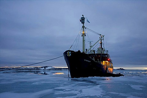 Research vessel anchoring in brash ice, Norway, Arctic