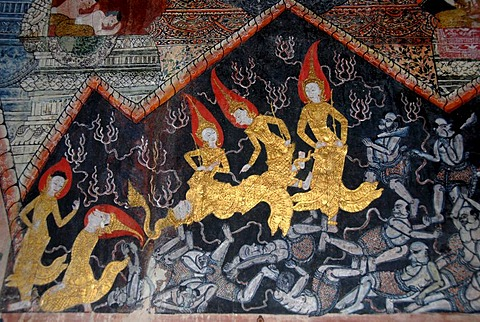 Old Buddhist wall paintings of inspiration and suffering in the Wat Pa Huak temple, Phu Si Berg, Luang Prabang, Laos, South East Asia
