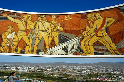 Mosaic memorial for Soviet soldiers and a view over the city of Ulan Bator, Mongolia, Asia