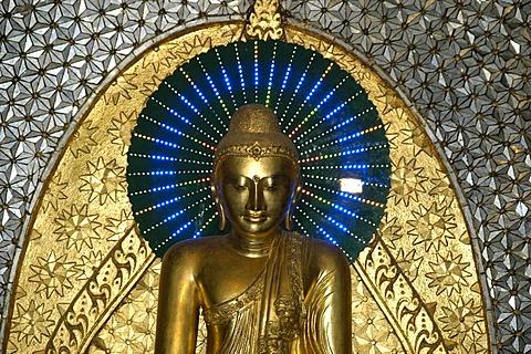 Buddhist figure in gold with blue nimbus, halo, Sagaing near Mandalay, Birma, Burma, Mayanmar, South Asia