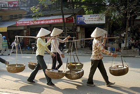 Three Vietnamese woman wearing rice hats and carrying baskets on their shoulders, Hanoi, Vietnam, Asia