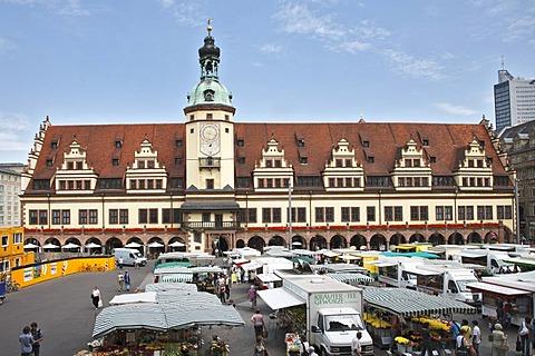 Old Town Hall, tower, Marktplatz, Market Square, Leipzig, Saxony, Germany, Europe