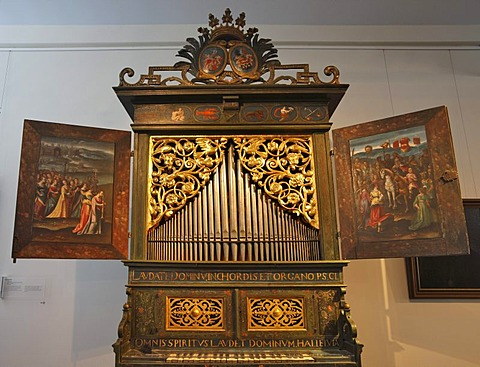 Positive organ from Steffan Cuntz, Nuremberg, ca. 1710, in the Museum of Musical Instruments in the University of Leipzig, Leipzig music trail, Leipzig, Saxony, Germany, Europe