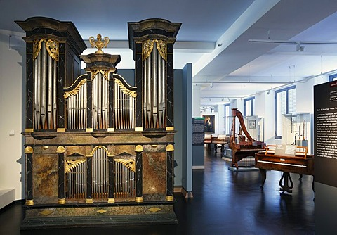 Organ of Franz Xaver Bloch, Aesch 1840 in the Museum of Musical Instruments in the University of Leipzig, Leipzig music trail, Leipzig, Saxony, Germany, Europe