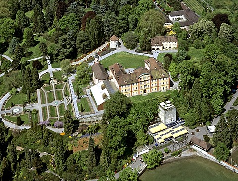 Aerial picture, Mainau Island, garden island on Lake Constance, Mainau Castle, Baden-Wuerttemberg, Germany, Europe