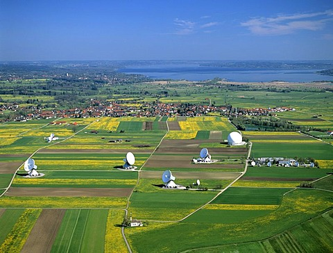 Satellite earth station Raisting, satellite antennae, Lake Ammersee, Pfaffenwinkel, Upper Bavaria, Germany, Europe, aerial view