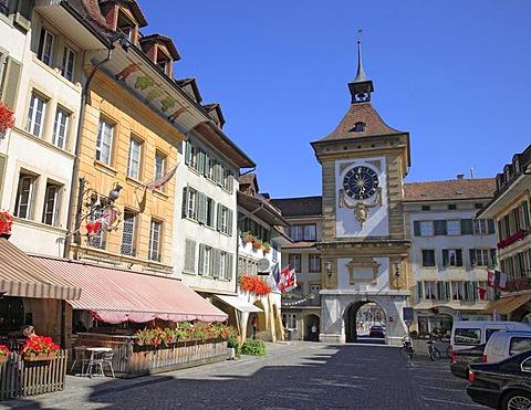 Berne Gate, Murten in the canton of Fribourg, Switzerland, Europe